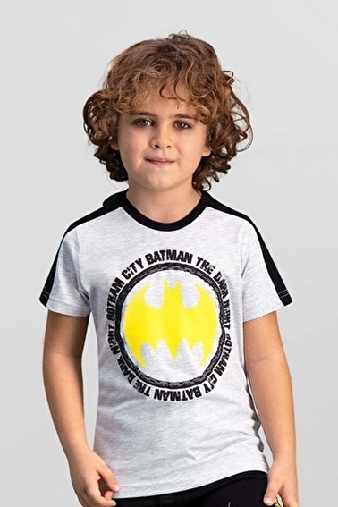 Batman Batman Lisanslı Lacivert Erkek Çocuk T-Shirt Gri